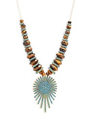 Azaara 22K Yellow Goldplated And Sunburst Pendant Necklace Turquoise