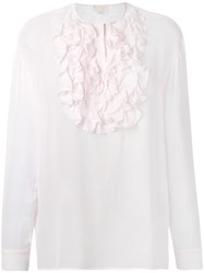 Giambattista Valli Ruffle Blouse Women Silk 44 Pink Purple