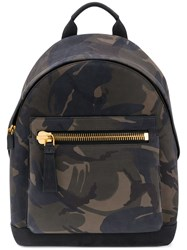 Tom Ford Camouflage Print Backpack Cotton Acrylic Bos Taurus Grey