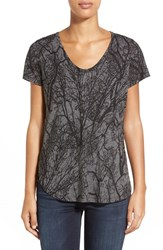 Women's Halogen Print V Neck Short Sleeve Burnout Tee