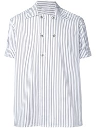Aganovich Striped Short Sleeve Shirt White