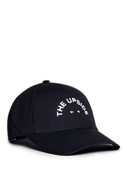 The Upside Logo Embroidered Canvas Baseball Cap Black