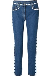 Moschino Painted Mid Rise Skinny Jeans Blue