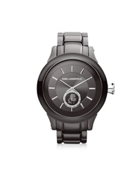 Karl Lagerfeld Chain 44.6 Mm Gunmetal Ip Stainless Steel Unisex Watch Dark Gray