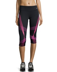Asics Illusion Printed Capri Pants Neon Purple
