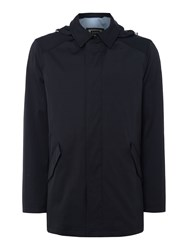Bugatti Men's Flexcity Smart Zip Raincoat Mac With Hood Navy