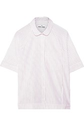 The Sleep Shirt Raglan Striped Cotton Poplin Pajama Shirt White