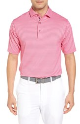 Bobby Jones Men's Haze Stripe Stretch Polo Persian Pink