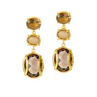 Alexandra Alberta Lexington Smokey Quartz Earrings Gold Grey