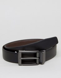 Ben Sherman Reversible Leather Belt With Silver Buckle Black