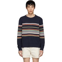 Sies Marjan Navy Cashmere Striped Vin Sweater