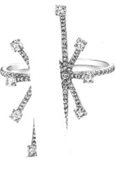 Susan Foster 18K White Gold Rose Cut Diamond Pave Starburst Ring Tcw 0.88 Cts Silver