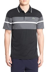 Men's Lacoste 'Sport' Stripe Ultra Dry Performance Polo Black Charcoal Grey