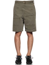 J.W.Anderson Folded Front Cotton Shorts W Belt Army Green