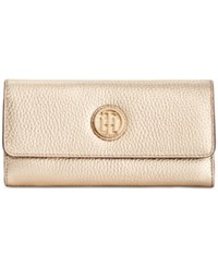 Tommy Hilfiger Lucky Charm Pebble Leather Large Flap Wallet Metallic Gold