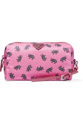 Prada Textured Leather Trimmed Printed Shell Cosmetics Case Pink
