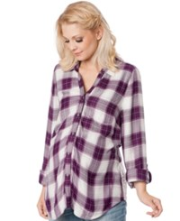 Wendy Bellissimo Maternity Plaid Lace Panel Shirt Pink Plaid