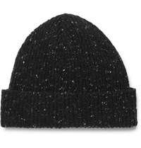 Mr P. Ribbed Donegal Wool Beanie Black