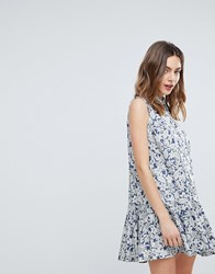 Deby Debo July Floral Print Shirt Dress Blue
