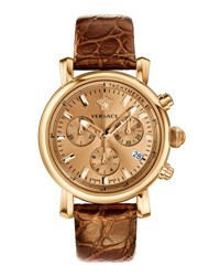 Versace 38Mm Day Glam Chronograph Watch W Leather Strap Golden Brown