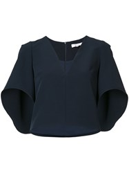 Milly Ruffled Sleeves Cropped Blouse Women Polyester Spandex Elastane S Blue