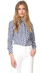 Milly Gingham Button Down Shirt Navy