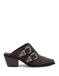 Matisse Bloke Embossed Croco Leather Mules Charcoal Grey