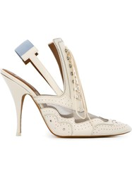 Givenchy Slingback Brogue Pumps Nude And Neutrals