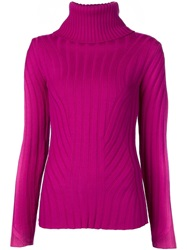 Barbara Bui Ribbed Turtleneck Sweater Pink And Purple