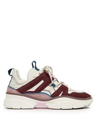 Isabel Marant Kindsay Shell And Suede Low Top Trainers Burgundy Multi