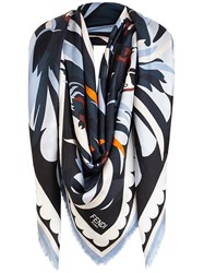 Fendi Printed Parrot Scarf Blue