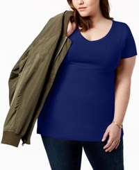 Planet Gold Trendy Plus Size Fitted V Neck T Shirt Maritime Blue