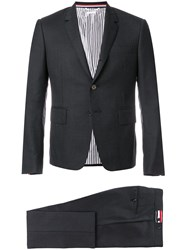 Thom Browne High Armhole Suit With Tie And Low Rise Skinny Trouser In Grey