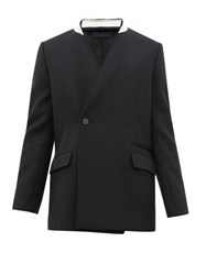 Haider Ackermann Raw Edged Wool Herringbone Jacket Black Multi