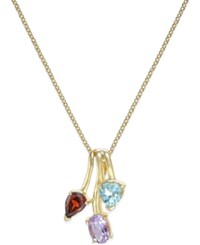 Victoria Townsend Tri Stone 2 2 3 Ct. T.W. Pendant Necklace In 18K Gold Plated Sterling Silver No Color