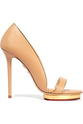 Charlotte Olympia Christine Leather Sandals Beige
