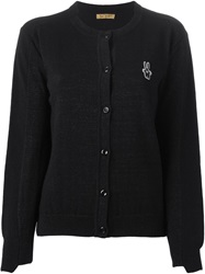 Peter Jensen Embroidered Logo Cardigan Black
