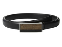 Calvin Klein 20Mm Feather Edge Semi Shine Leather Plaque Buckle With Inlay And Powder Coated Logo Belt Black Women's Belts
