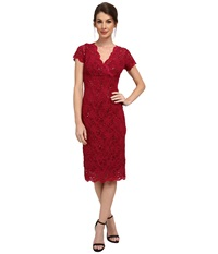 Rsvp Cap Sleeve Floral Lace Empire Dress With Sequins Cranberry Women's Dress Red