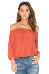 Monrow Off Shoulder Top Red