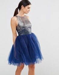 Laced In Love Heavily Embellished Prom Dress Navy