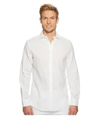 Perry Ellis Slim Fit Long Sleeve Solid Linen Shirt Bright White Clothing