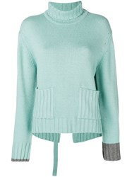 Eudon Choi Deconstructed Roll Neck Sweater Blue