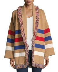 Alanui Fringed Colorblock Cashmere Robe Sweater Brown Pattern