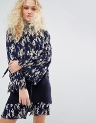 I Love Friday Pleated Shirt In Floral Print With Bow Navy