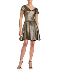 Nue By Shani Short Sleeve Metallic Fit And Flare Dress Gold