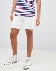 Solid Shorts In Distressed Denim In White White 001