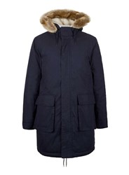 Topman Blue Navy Classic Fit Parka With Faux Fur Trim