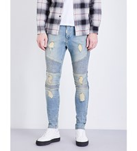 Represent Biker Skinny Stretch Denim Jeans Blue Cream