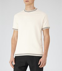 Reiss Homage Mens Piped Cotton T Shirt In White